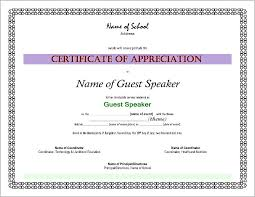 Sample Certificate Of Appreciation As Guest Speaker Citation