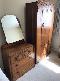 3 piece antique style bedroom furniture set small cupboard wardrobe dresser 3 drawers mirror