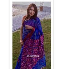 Dhaka Design Dhaka Moslin Saree Dhaka Moslin Blue Saree Saree