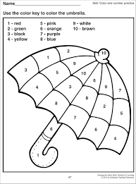 Finally you can hang these printable color chart for kindergarten and preschoolers as a reference for students. Color By Numbers Umbrella Kindergarten Worksheets Printable Math Coloring Worksheets Number Worksheets Kindergarten