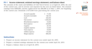 how to prepare an income statement and balance sheet solved income statement retained earnings statement and