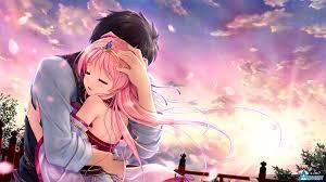 Love Anime Couple Hug Wallpaper