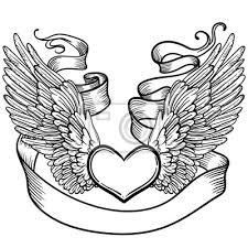 Nálepka Line Art Ilustrace Andělské Křídla Srdce Páska Vintage Tisk