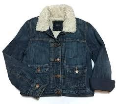 Gap Kids Denim Jacket Sherpa Lined Large Jean Tucks Girls