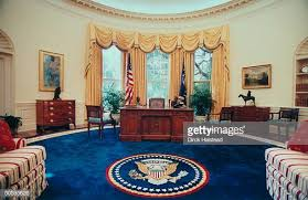 oval office picture. Newly Renovated WH Oval Office W New Color Scheme Artwork Couches Covered Striped Fabric Done Picture S
