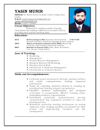 Example Resume Sample For Teaching Job Career Objective And
