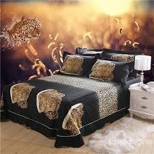 brilliant 3d crouching leopard printed cotton 4 piece bedding setsduvet animal print bedding sets queen plan