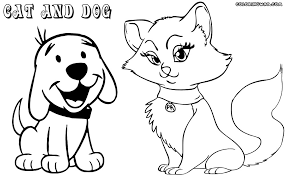 Cat And Dog Coloring Page For Kids Color Dogs And Cats Cute Cat And