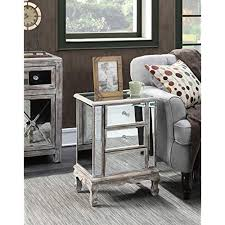 Mirrorred furniture Luxury Convenience Concepts Gold Coast Collection 3drawer Mirrored End Table Weathered Whitemirror Housely Cheap Mirrored Furniture Amazoncom