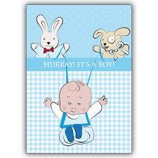 Tolle Babykarte Junge Zur Geburt Hurray Its A Boy