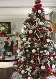 red white christmas tree red silver and white decorations tree decorations  red and silver blue curtain