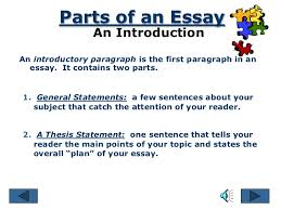 parts of an essay introduction body conclusion 5 parts of an essay an introductionan introductory paragraph