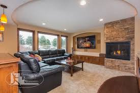 basement home theater with fireplace. basement tv wall \u0026 fireplace traditional-basement home theater with m