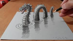 trick art dragon on paper anamorphic illusion a loch ness monster sea monster on
