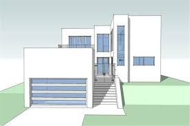 Modern House Plans   Home Design Barbados Trees     middot  Color Rendering of this house plan