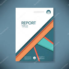 Business Report Cover Template On Blue Material Design Background