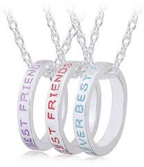 jewelry set of 3 best friends forever necklace engraved ring pendant charm necklace souq uae