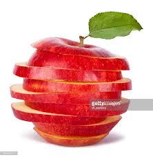 red apple slice. sliced red apple and leaf slice t