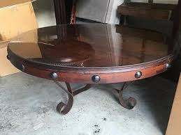 round coffee table wood top w glass protector mexports 48 inch