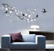 large cherry blossom wall decal large tree wall decal large printed windy  tree with birdhouse wall .