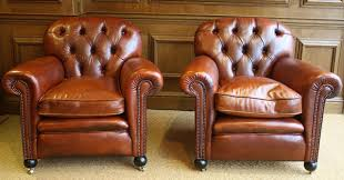 leather club chairs vintage. Buttoned Back Antique Pair Of Leather Club Chairs Vintage