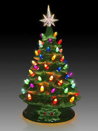 Ceramic Lighted Green Tabletop Christmas Tree - Beautiful ceramic Christmas  tree brings a cheerful glow to any room. Plug it in and light up a corner or