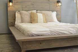 Grey Wooden High Platform Bed Frame With High Headboard And Black ...