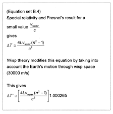 speed of light equation. by applying wisp theory to established equations that appear give a correct prediction of the speed light through moving water, we discover equation