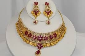 diamond gold and ruby necklace set
