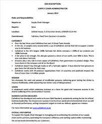 Supply Chain Management Job Description Management