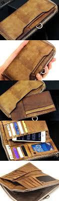handmade men long leather wallet men vine brown gray long wallet for him