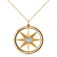 diamond nautical compass pendant necklace 14k yellow gold 0 66ct