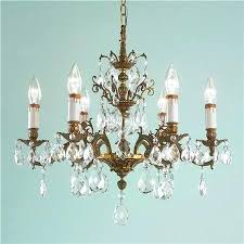 antique brass chandelier 6 arm with crystal stem chain uk