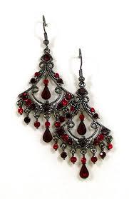 04 03 300 red fan chandelier rhinestone earrings