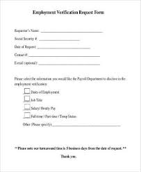 Sample Employment Verification Request Forms 9 Free Documents In