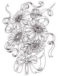 Coloriage Gratuit Bouquet De Fleurs Marguerite Coloriage
