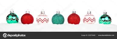 Christmas Ornaments Border Christmas Border Red Green White Ornaments Snow Isolated