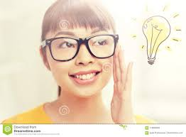 Happy Light Glasses Asian Woman In Glasses With Light Bulb Doodle Stock Photo