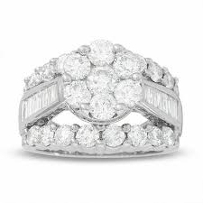 4 Ct T W Composite Diamond Cluster Engagement Ring In 14k White Gold