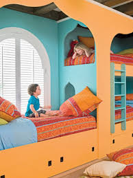handsome kids room furniture design ideas with cute orange blue bunk bed for 3 persons and bedroom furniture set kids 3