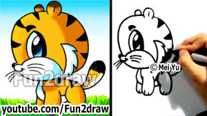 cute animated baby tigers. Unique Baby How To Draw A Cartoon Tiger  Animals Easy Step By  Fun2draw Art YouTube For Cute Animated Baby Tigers O