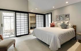 asian style master bedroom with sliding shoji closet doors