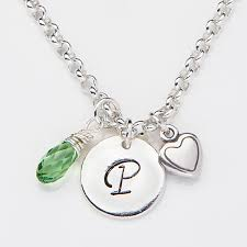 personalized initial necklace with swarovski birthstone and charms 15279d