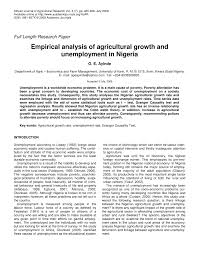 empirical analysis of agricultural growth and unemployment in  empirical analysis of agricultural growth and unemployment in ia pdf available