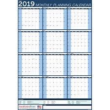 Callendar Planner 2019 Wall Calendar Blue Yearly Planner Laminated Erasable Vertical Mpc Blue 27x40
