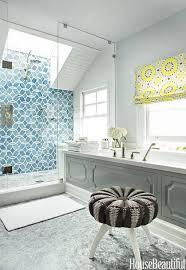 shower with skylight and ann sacks beau monde glass polly tiles