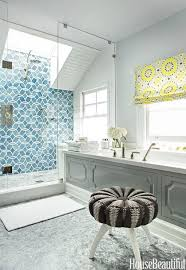 shower with skylight and ann sacks beau monde glass polly tiles