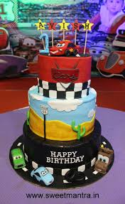 Mcqueen Car Theme Customized 3 Layer Fondant Cake For 1st Birthday