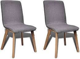 Set of 2 Dark Gray <b>Fabric Oak</b> Modern <b>Dining</b> Chair <b>Indoor</b>