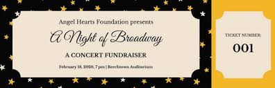 broadway ticket template black and gold stars fundraiser ticket templates by canva